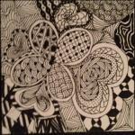 zentangle flower andheart