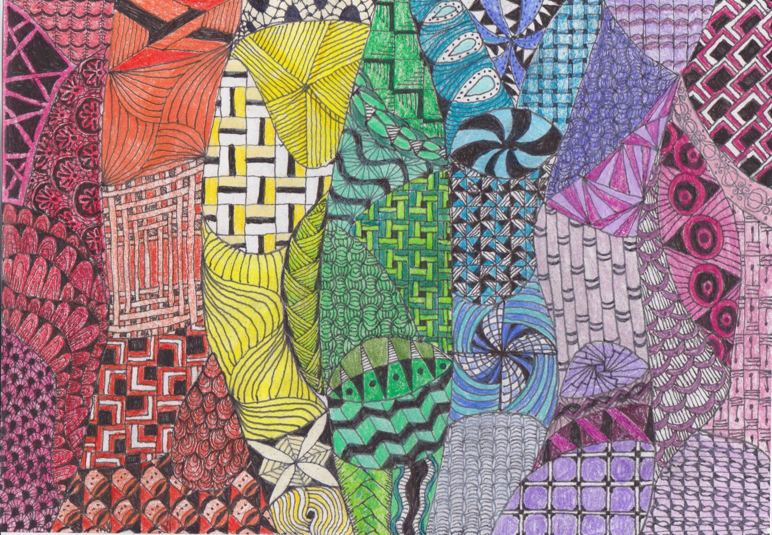 zentangle rainbow colours somber scribbler
