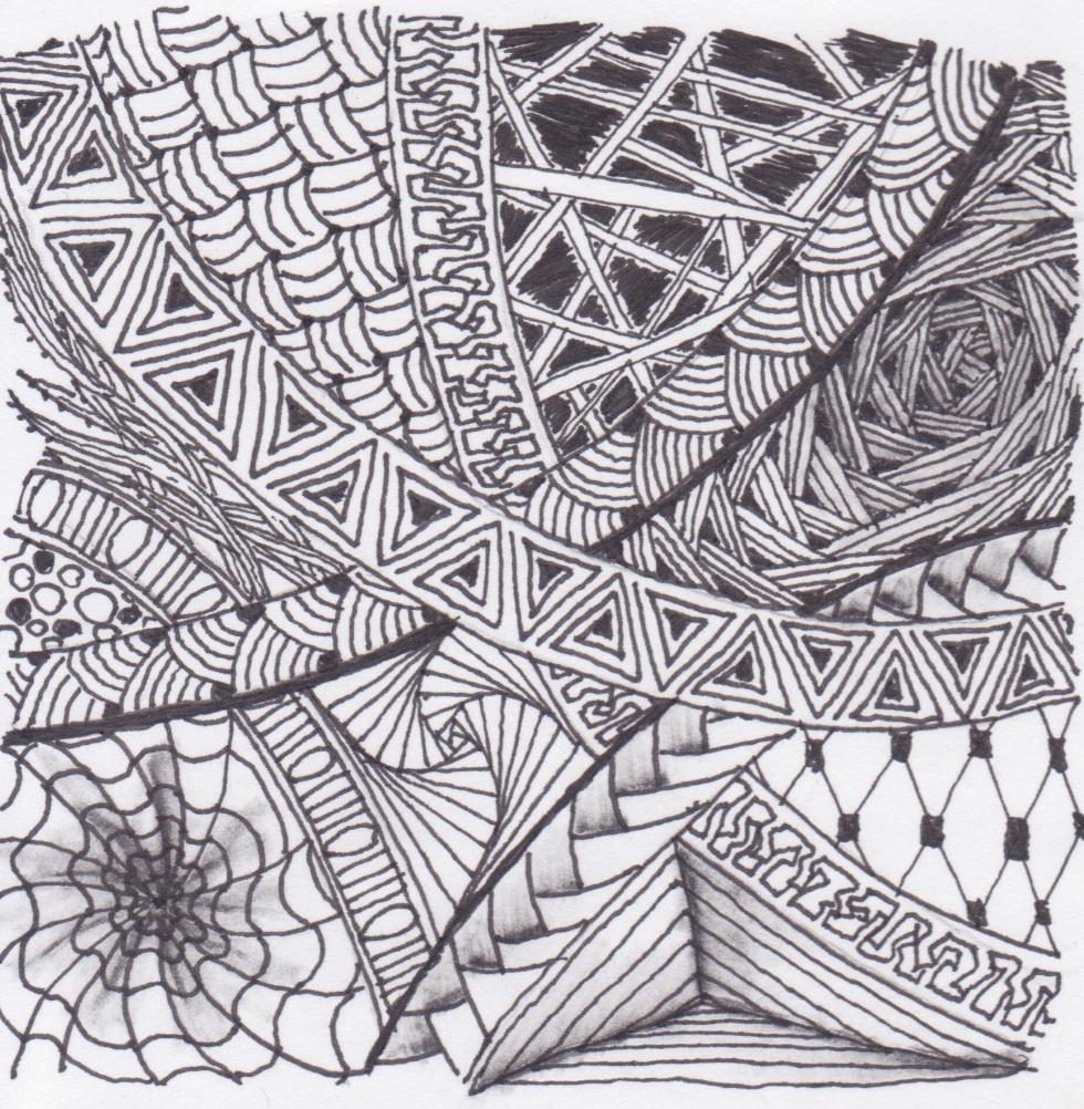 z for zentangles somber scribbler