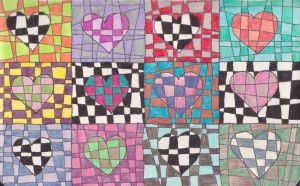 checker hearts