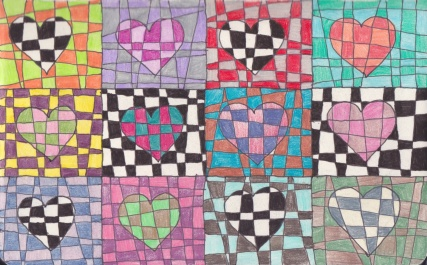 checker hearts