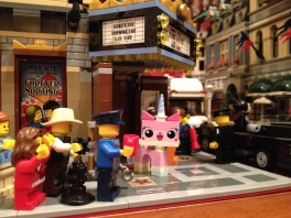 Unikitty outside the Chinese Theatre with all her fans